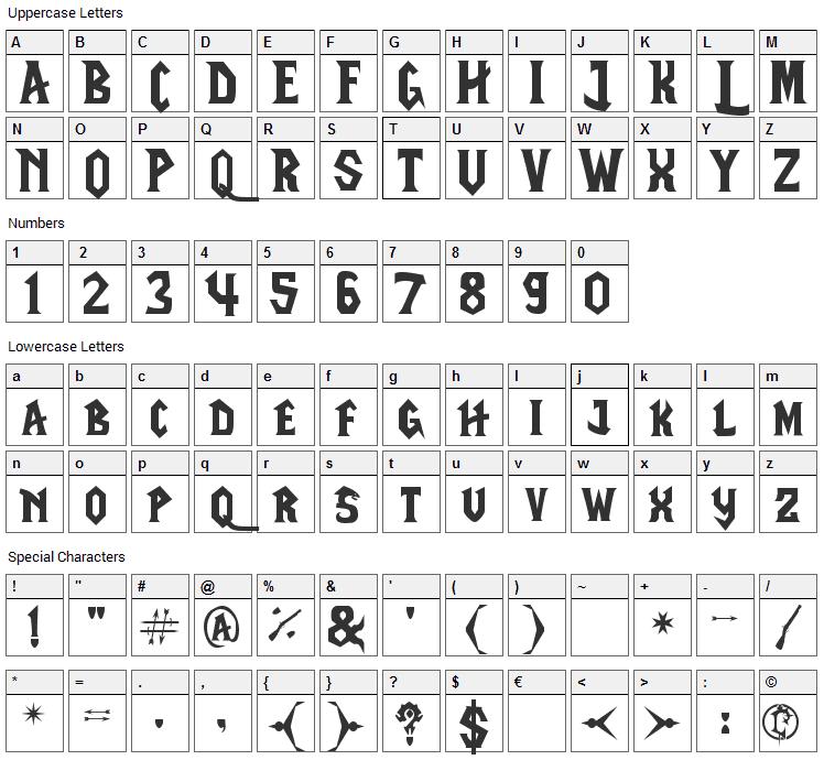 LifeCraft Font Character Map