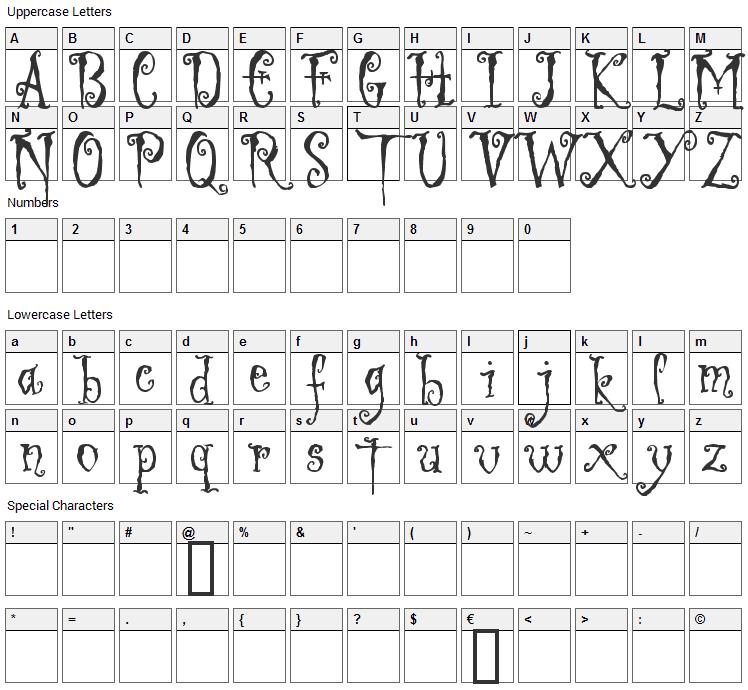 Ligeia Font Character Map