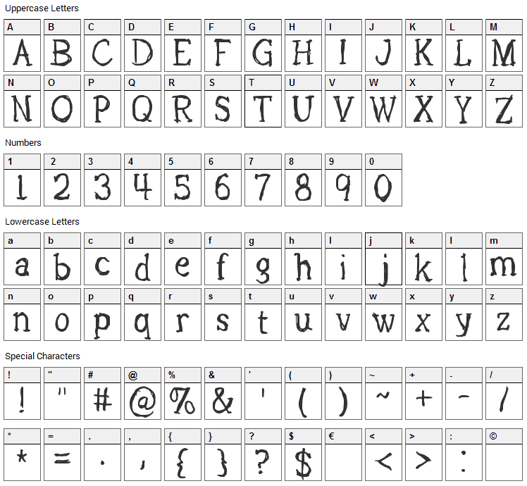 Lights Out Font Character Map