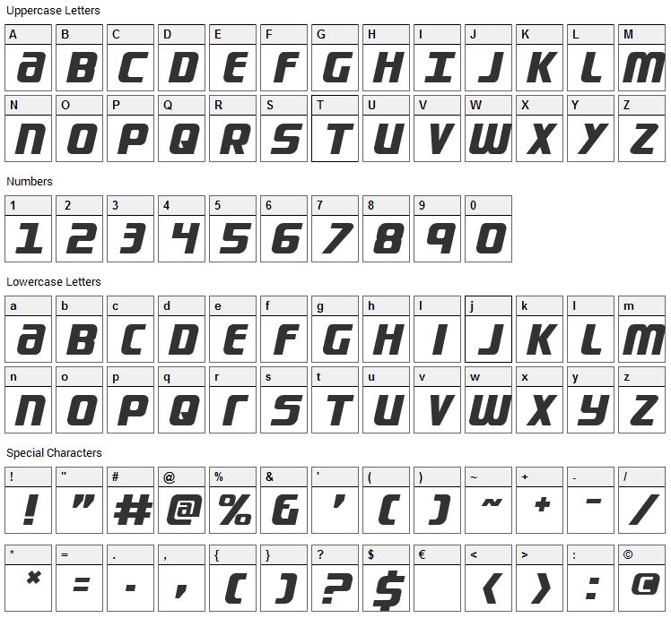 Lightsider Font Character Map