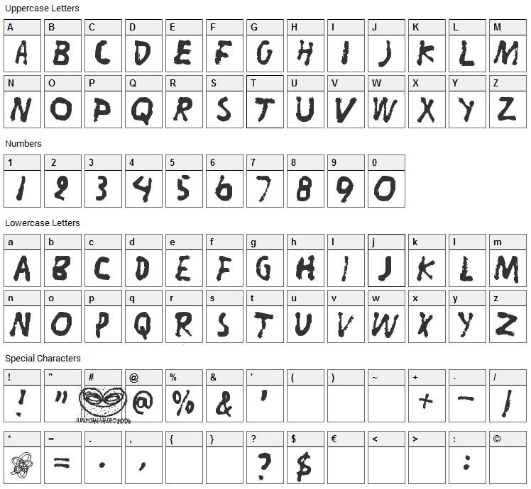 Liitu Font Character Map