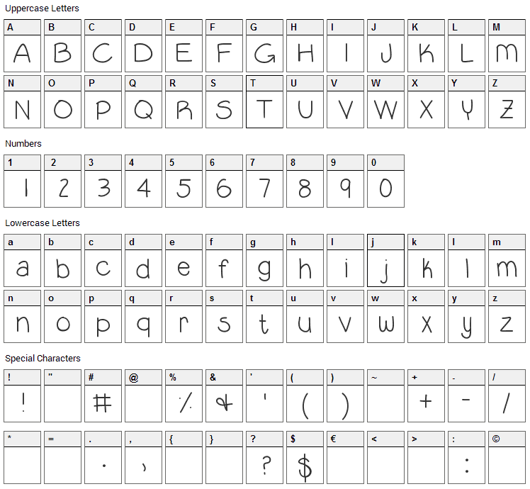 Lil Guy Font Character Map