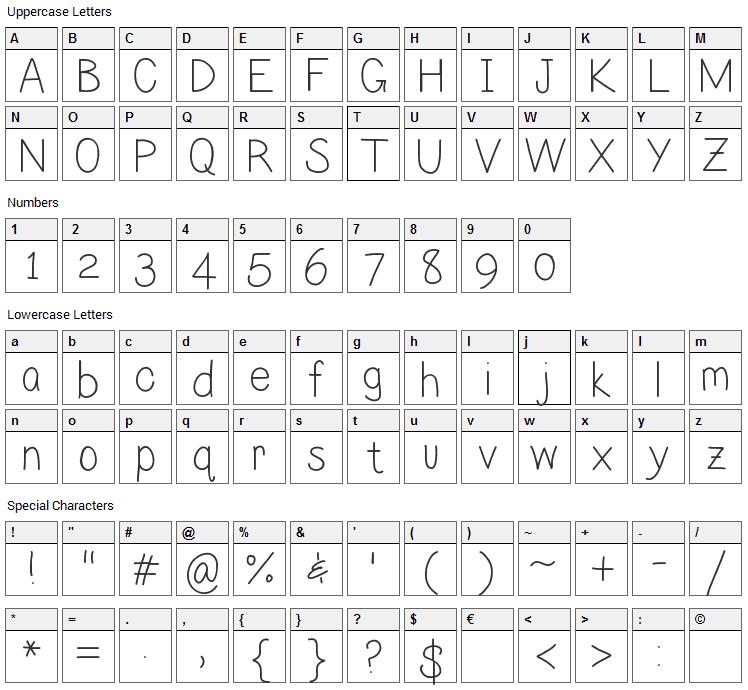 Lilian Font Character Map