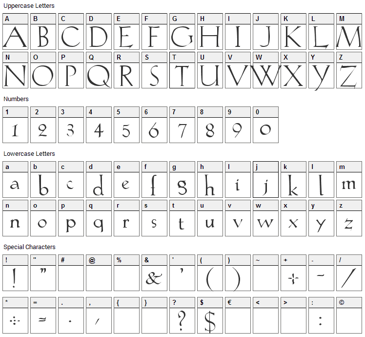 Lilith Font Character Map