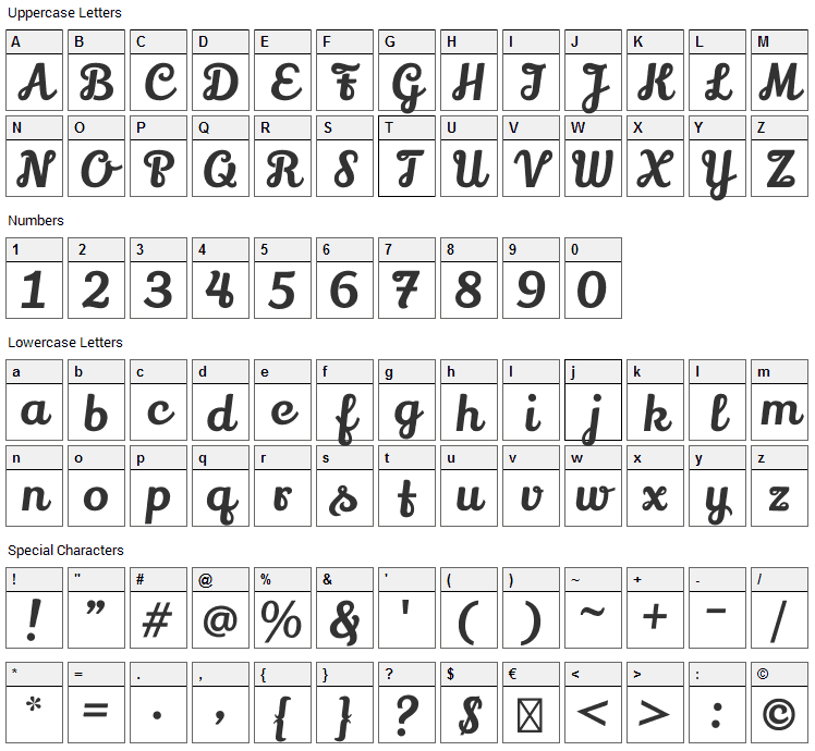 Lily Script One Font Character Map