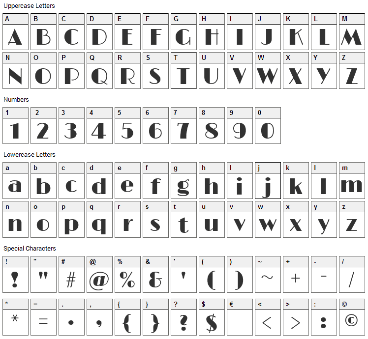 Limelight Font Character Map