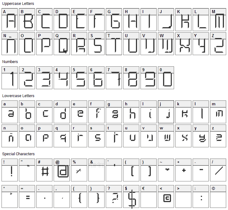 Limh Font Character Map