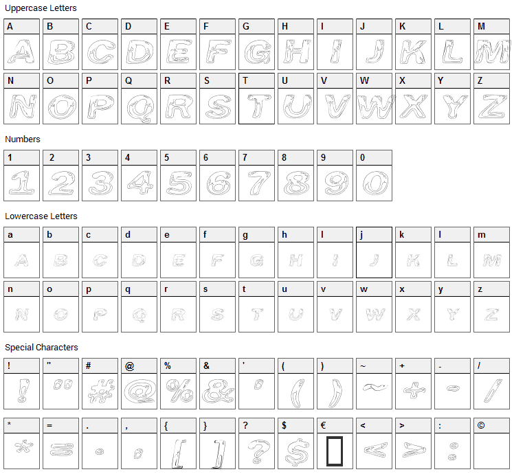 Line Etch Font Character Map