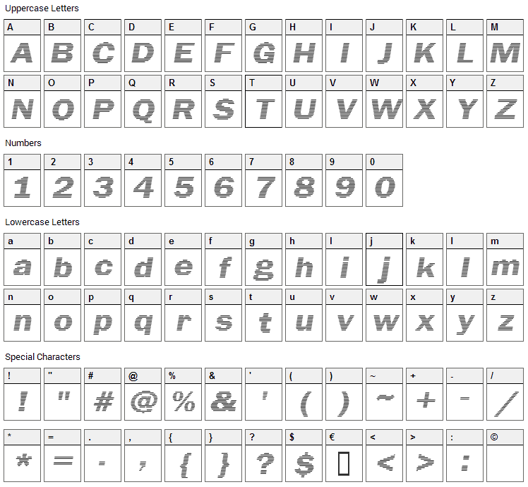 Linear Beam Font Character Map