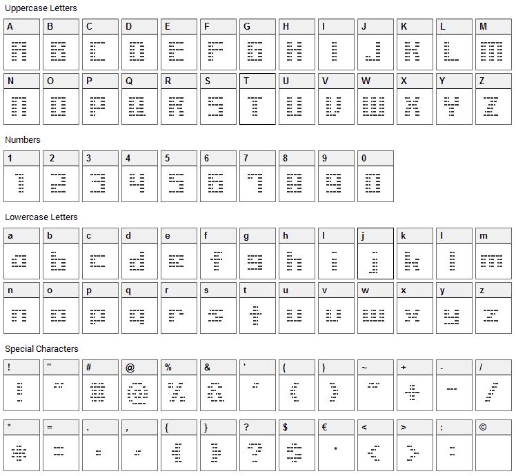 Liner BMP14 Font Character Map