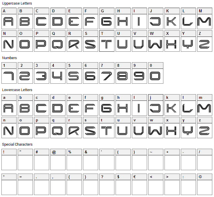 Liner Font Character Map