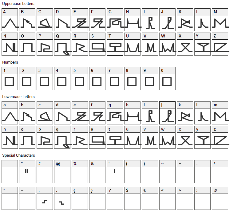 Lines of Life Font Character Map