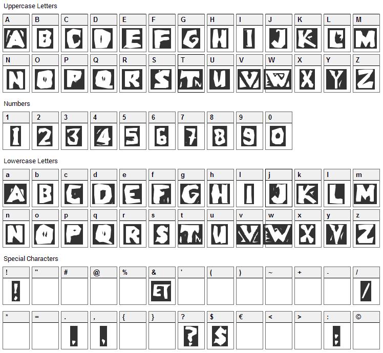 LinoLeumInvers Font Character Map