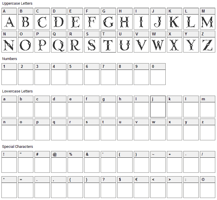 Linthicum Font Character Map