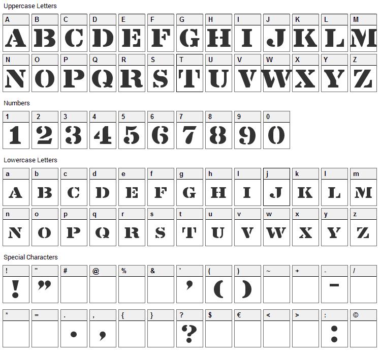 Lintsec Font Character Map