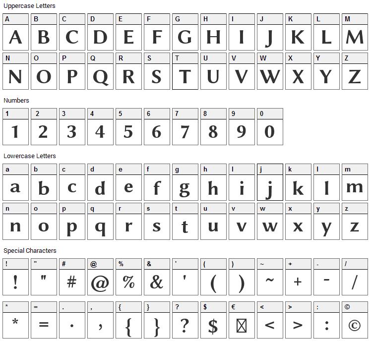 Linux Biolinum Font Character Map