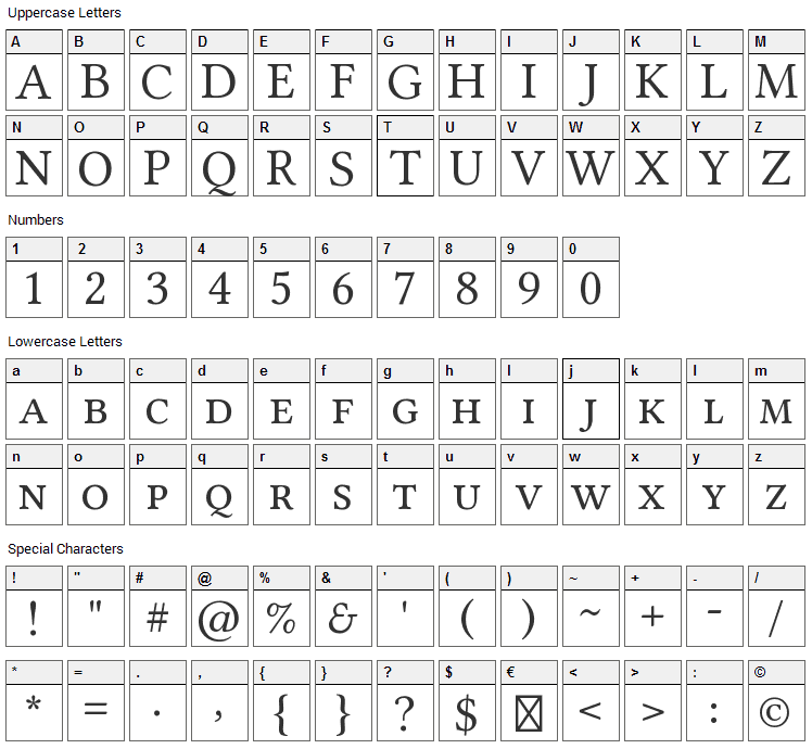 Linux Libertine Font Character Map