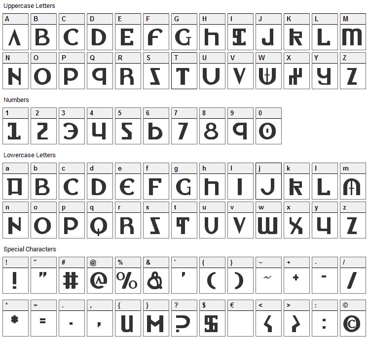 Lionheart Font Character Map