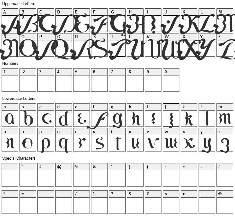 Lipi Font Character Map