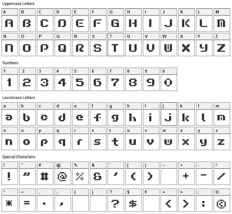 Liquid Kidz Font Character Map