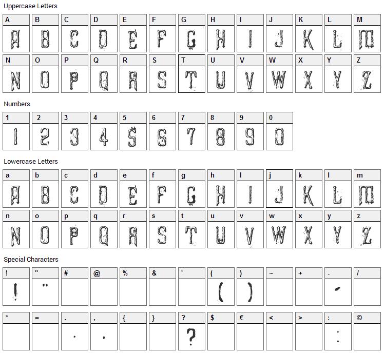Liszthius-Alkimista Font Character Map