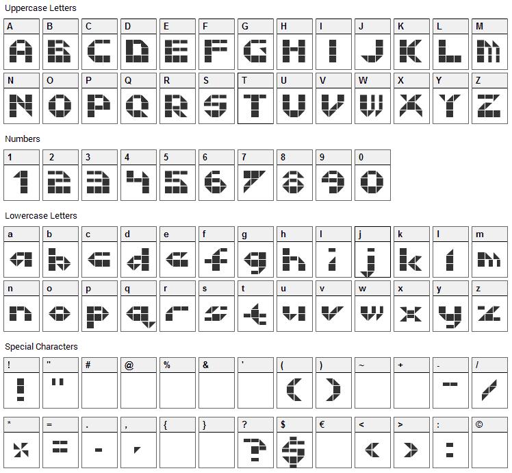 Litebrite 1975 Font Character Map