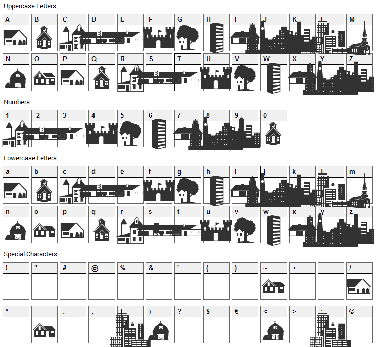 Little City 2000 Font Character Map