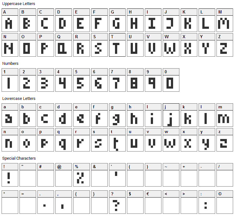 Little Conquest Font Character Map