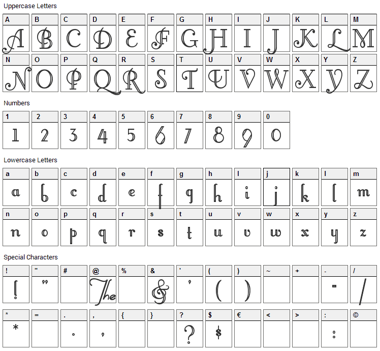 Little Lord Fontleroy Font Character Map