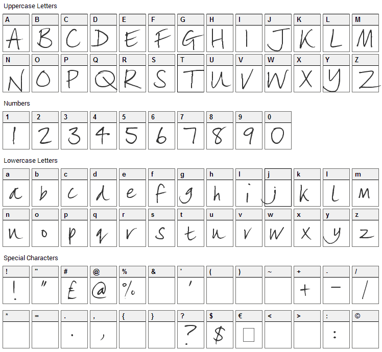 Lizzielongstocking Font Character Map
