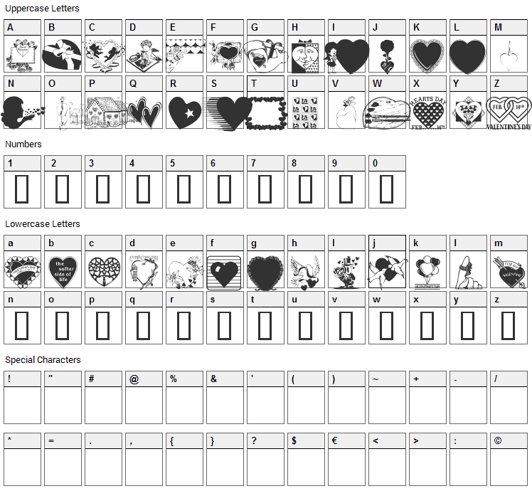 LM Valentines 1 Font Character Map