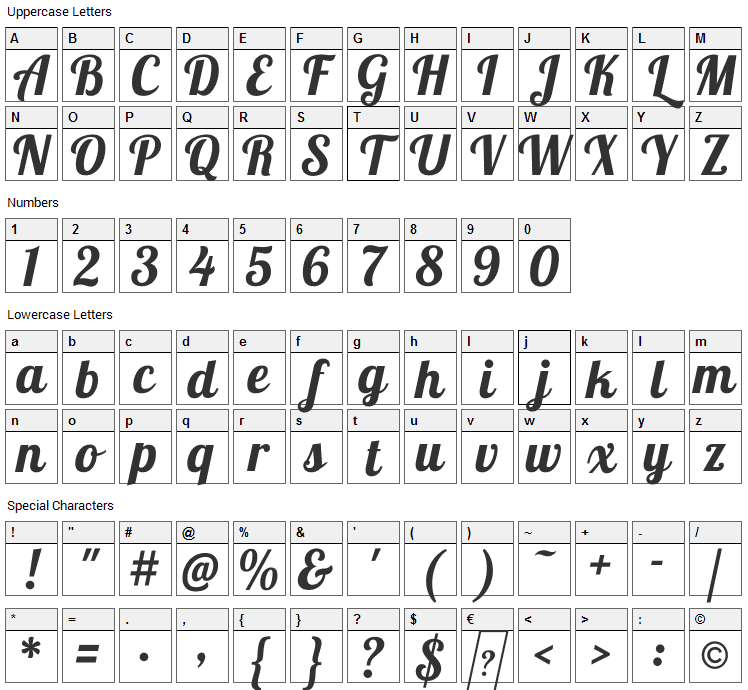 Lobster Font Character Map