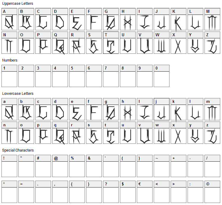 Locals Only Font Character Map