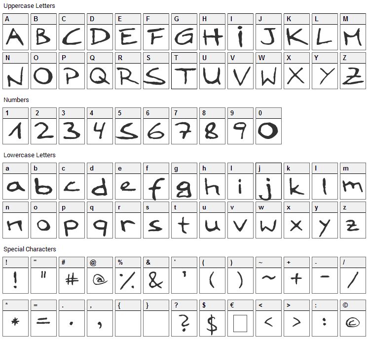 LoddyFont Font Character Map