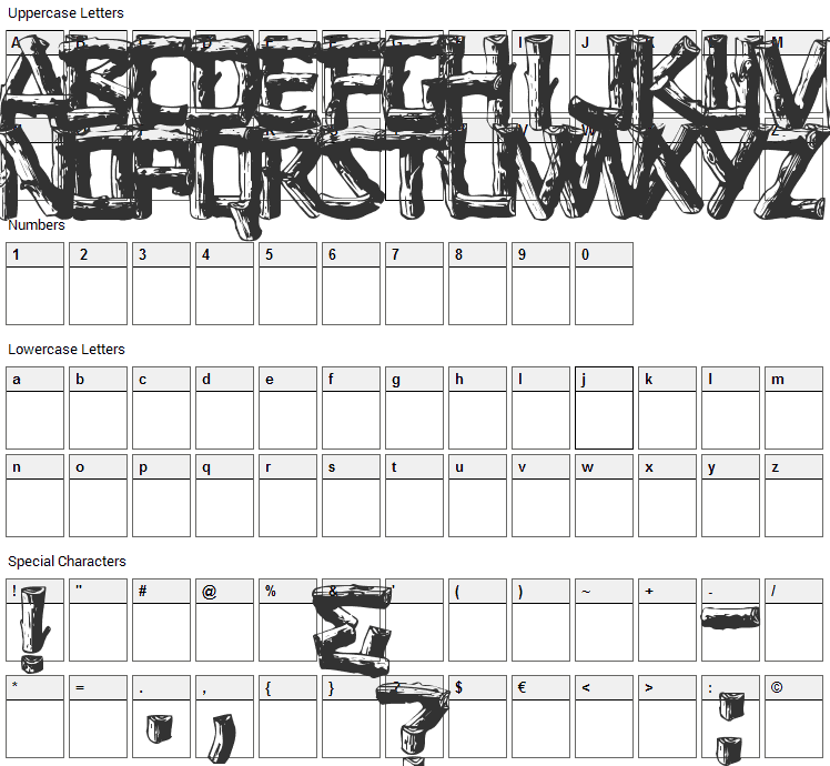 Logger Font Character Map