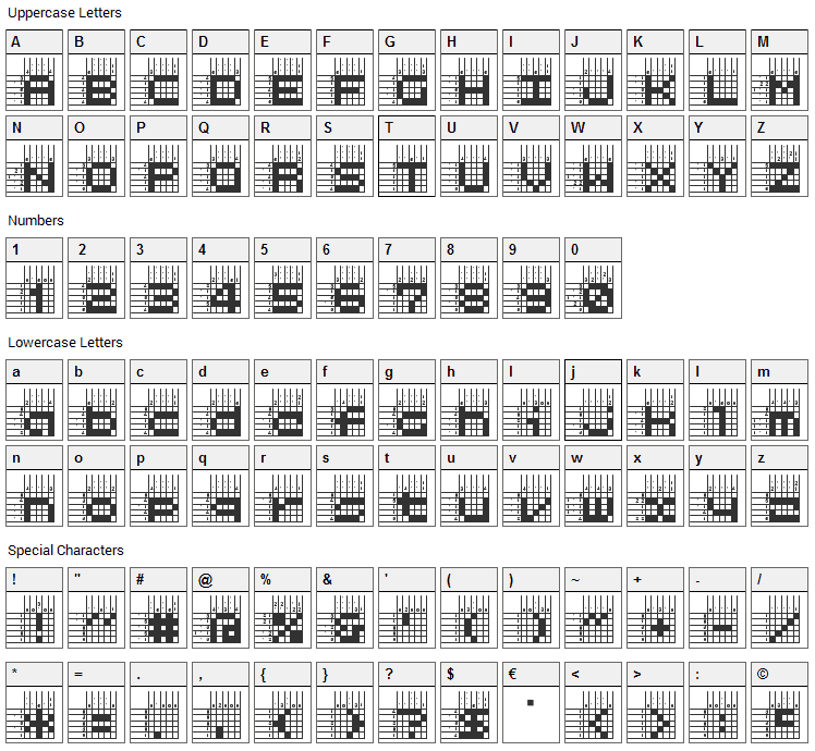 Logic Twenty-five Font Character Map