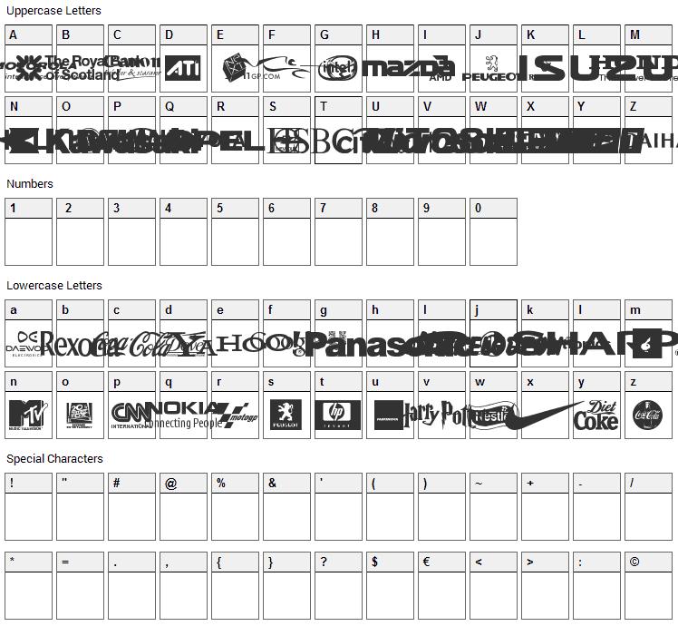 Logos Font Character Map