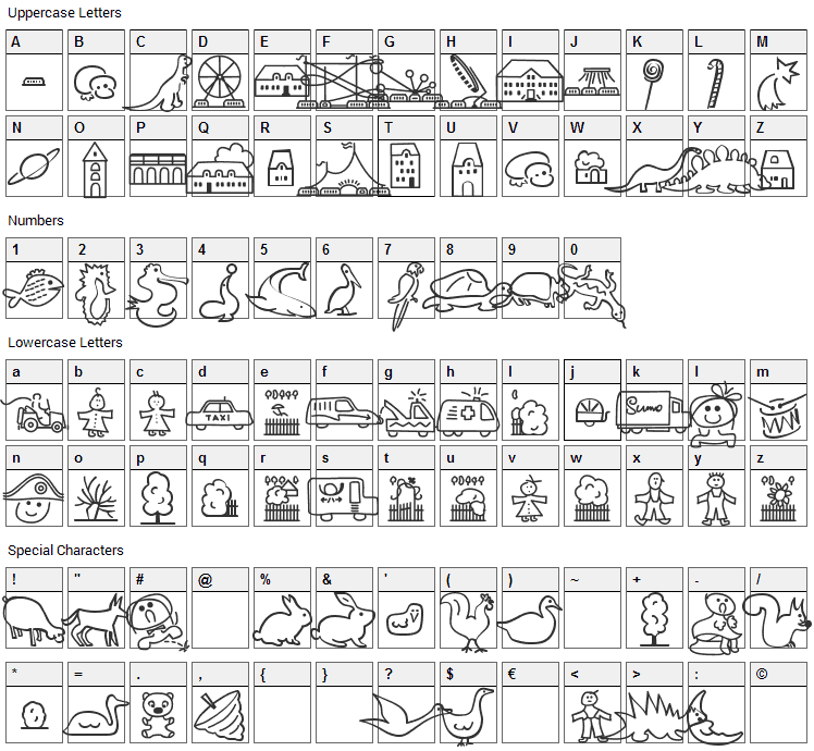 Lokinder Dingsbums Font Character Map