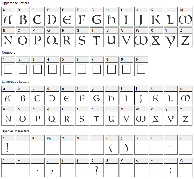 Lombardic Font Character Map