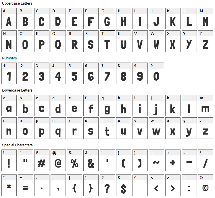 Londrina Solid Font Character Map