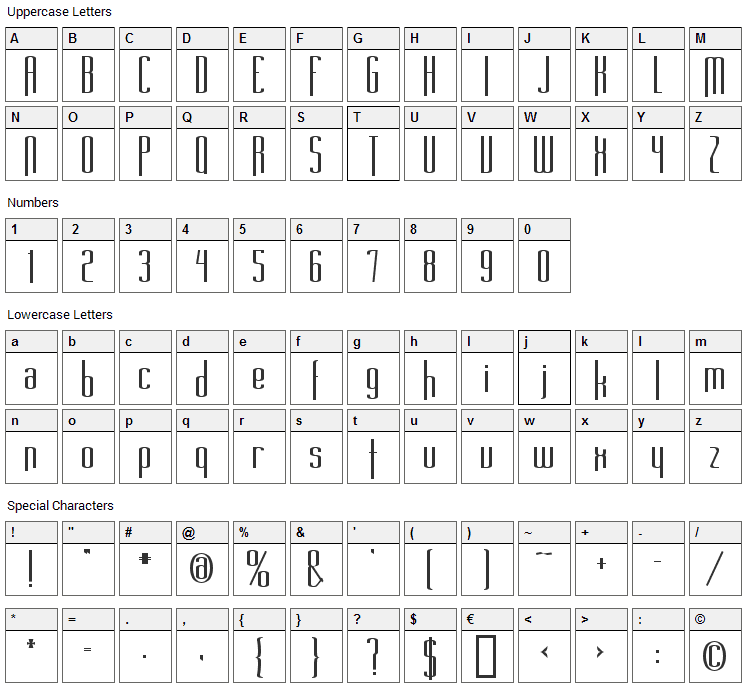 Long Cool Mother Font Character Map