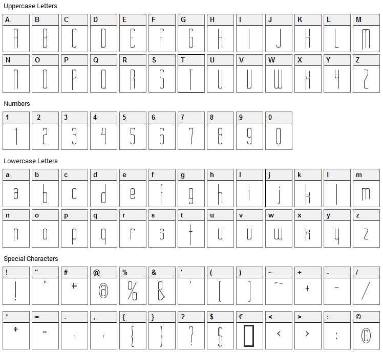 Long Cool Woman Font Character Map