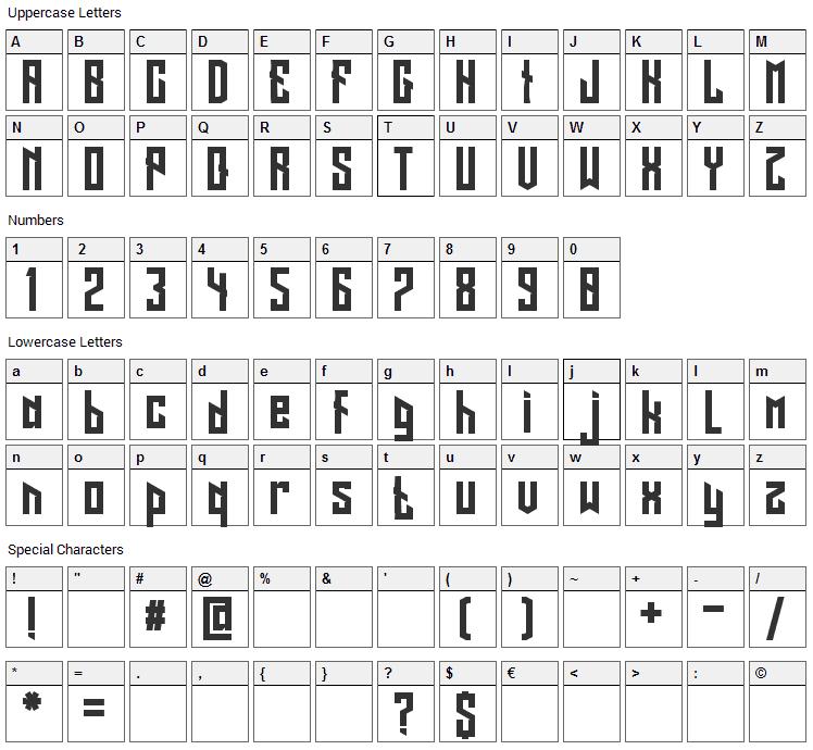 Long Shot Font Character Map