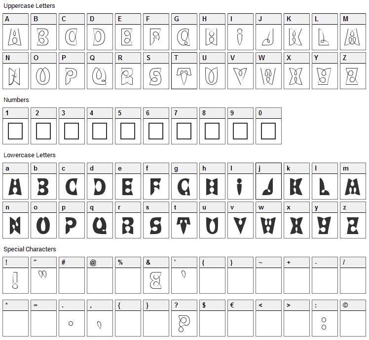 LoopDeLoop Font Character Map
