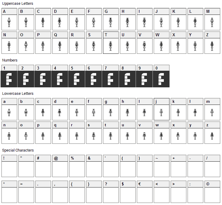 Lost Robo Font Character Map