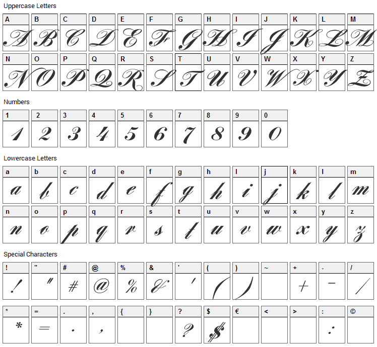 Louisa Font Character Map
