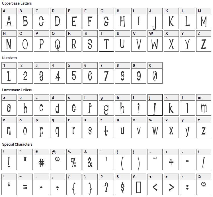 Lounge Bait Font Character Map