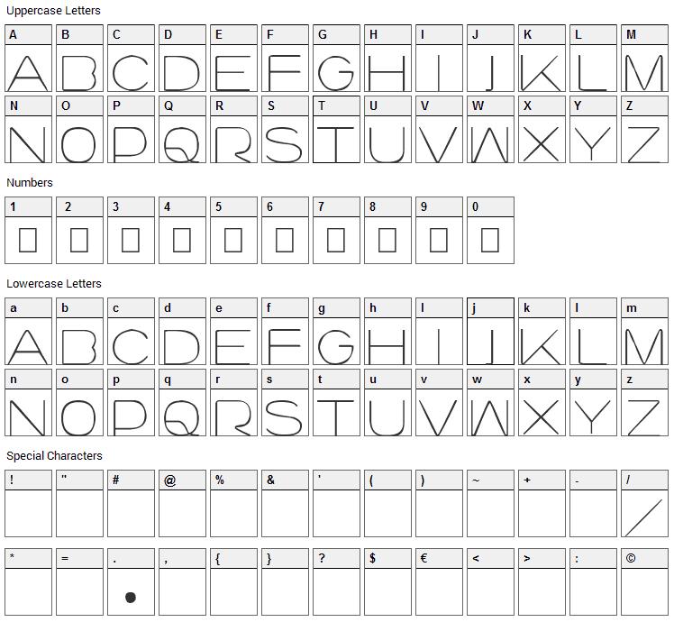 Lourod Font Character Map