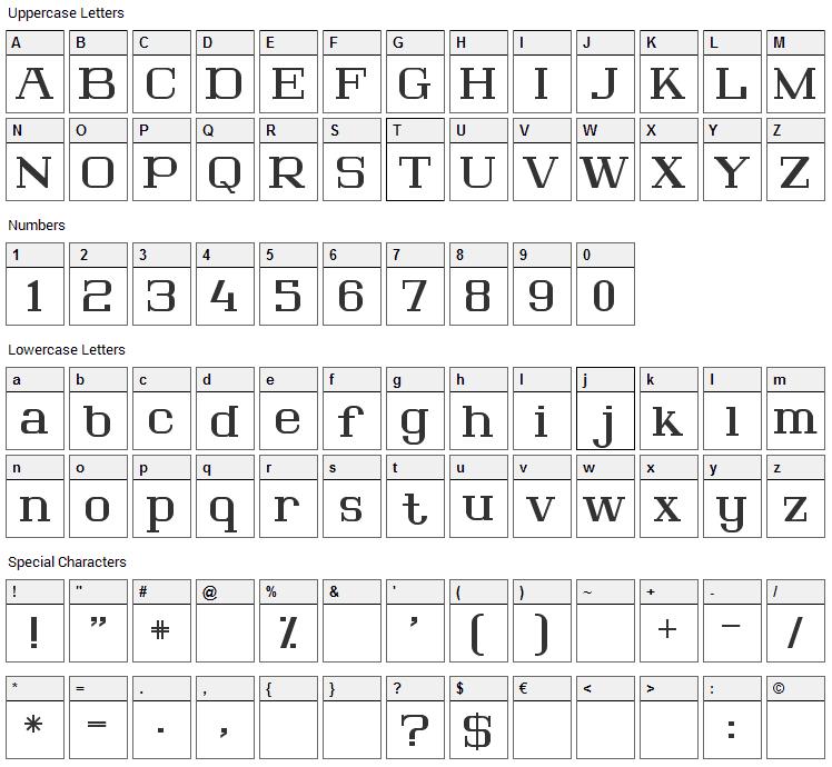 Lousitania Font Character Map