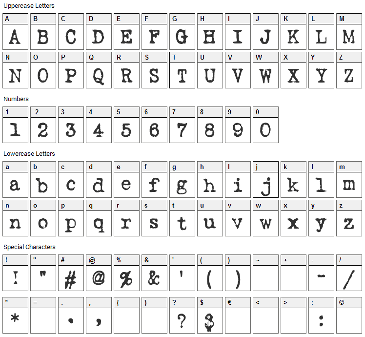 Love Letter TW Font Character Map